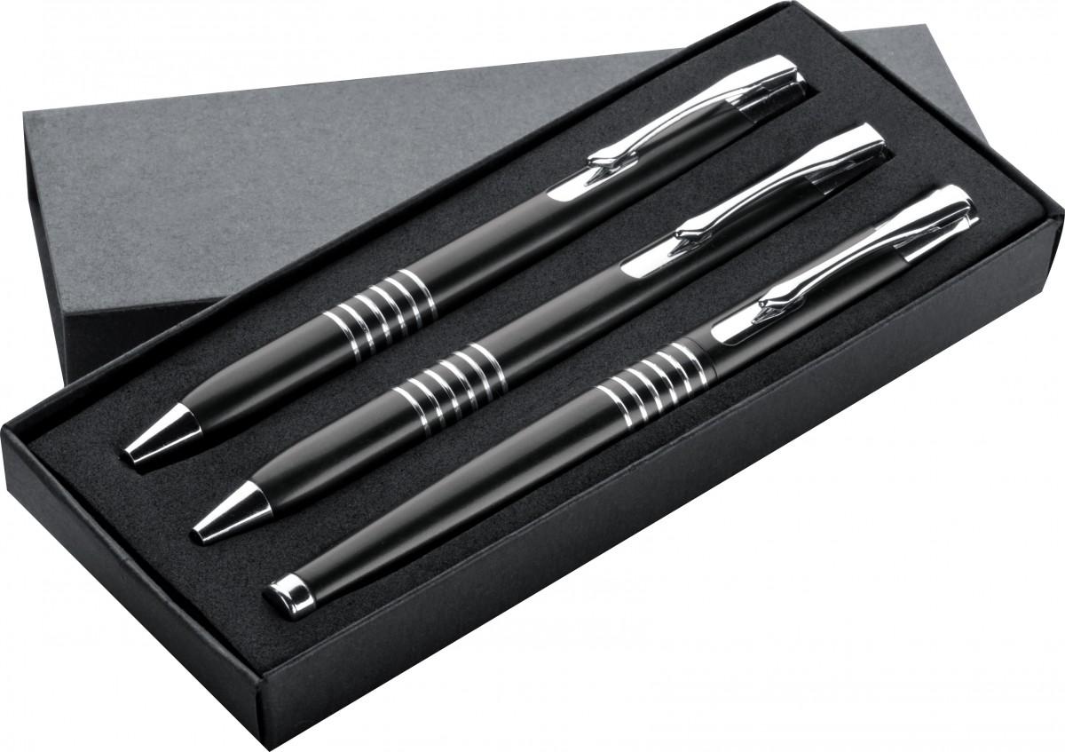 3 tlg schreibset aus metall druckkugelschreiber drehbleistift und f ller mit lasergravur. Black Bedroom Furniture Sets. Home Design Ideas